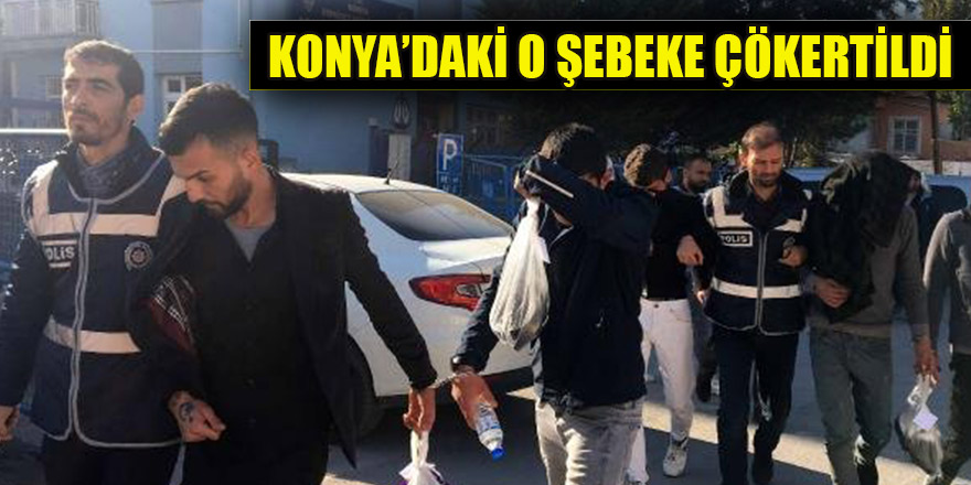 Konya'da bakır kabloları çalan şebeke çökertildi