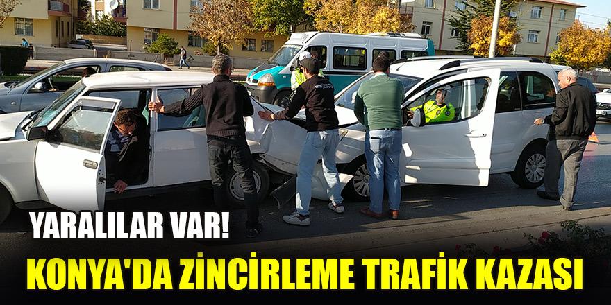 Konya'da zincirleme trafik kazasında 4 kişi yaralandı