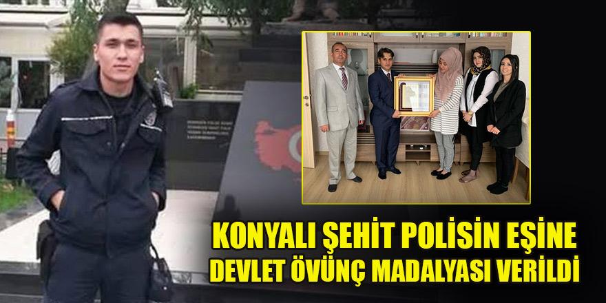 Konyalı şehit polisin eşine Devlet Övünç Madalyası verildi