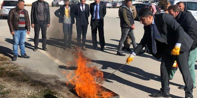 Van'da yükümlülere yangın kursu