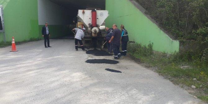 Sapanca'da 170 ton asfalt yama çalışması
