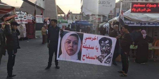 """Irak'ta protestoculardan Saddam'ın kızına: """"Sen sus kasabın kızı"""""""