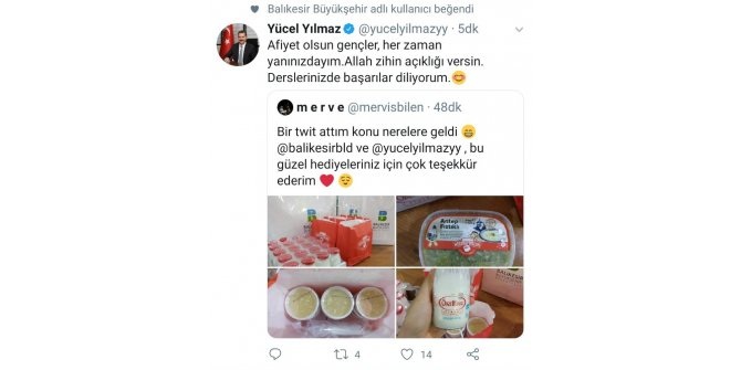 """Başkan Yılmaz'dan öğrenciye """"tatlı"""" jest"""