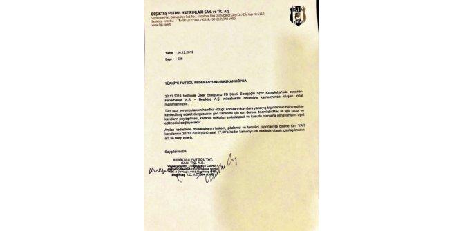 Beşiktaş, Fenerbahçe derbisinin VAR kayıtlarının açıklanması için TFF'ye başvurdu.