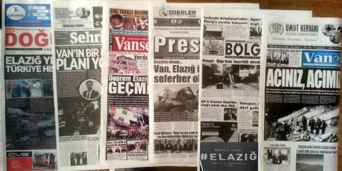 Van'daki yerel gazetelerin Elazığ duyarlılığı