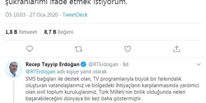 Cumhurbaşkanı Erdoğan'dan deprem yardımlarına teşekkür açıklaması