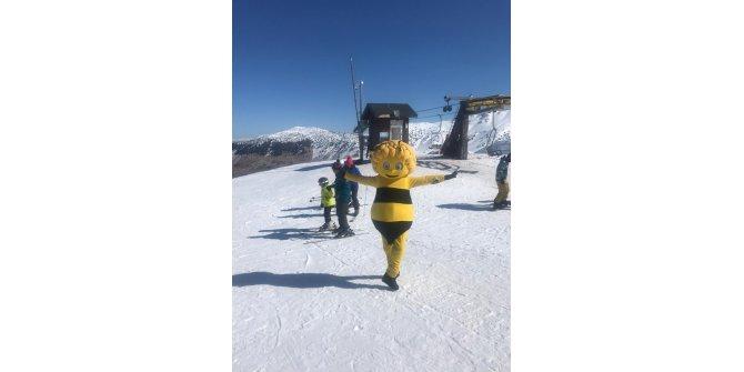 Arı Maya kostümüyle snowbord yapıp, Davraz kayak merkezini tek başına tanıttı