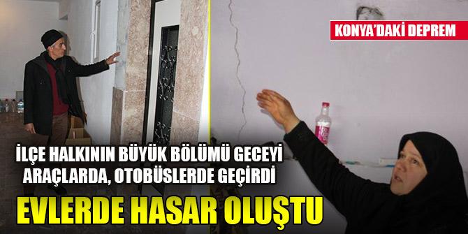 Konya'daki deprem sonrası evlerde hasar oluştu