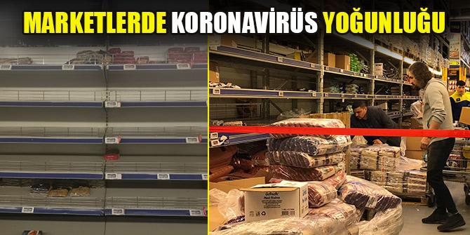 Marketlerde koronavirüs yoğunluğu
