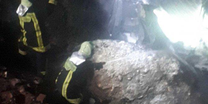 Şarampole yuvarlanan otomobil yandı:1 ölü
