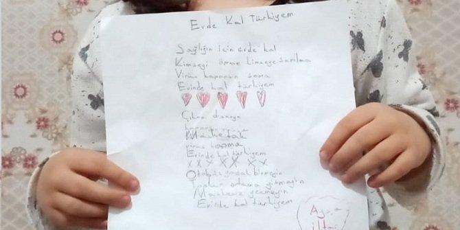 """İlkokul öğrencisi Ayşe, yazdığı şiirle """"Evinde kal Türkiyem"""" dedi"""