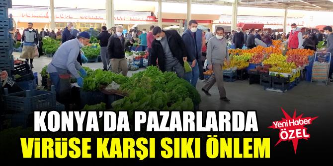 Konya'da pazarlarda virüse karşı sıkı önlem
