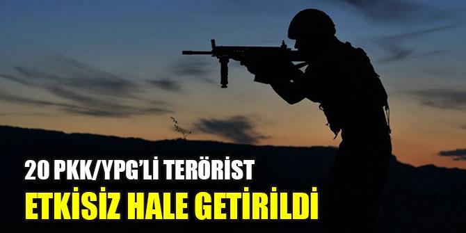 MSB: 20 PKK/YPG'li terörist etkisiz hale getirildi