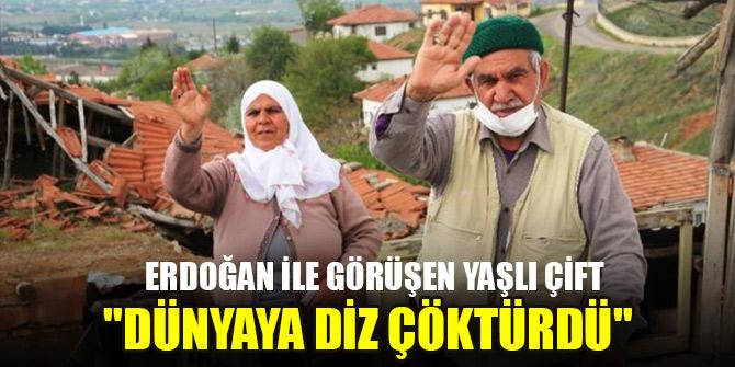 """Cumhurbaşkanı Erdoğan ile görüşen yaşlı çift: """"Dünyaya diz çöktürdü"""""""