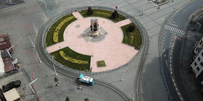 Taksim Meydanı ve İstiklal Caddesindeki sakinlik havadan görüntülendi