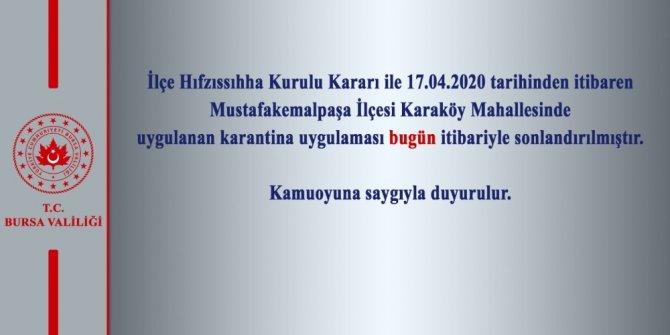 Bursa'nın Mustafakemalpaşa ilçesindeki karantina sonlandırıldı