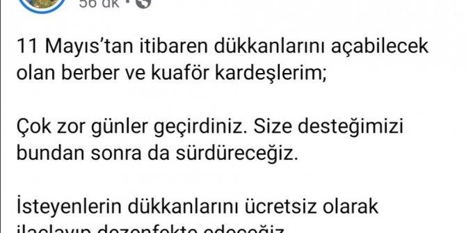 İzmit Belediyesi kuaförleri dezenfekte edecek