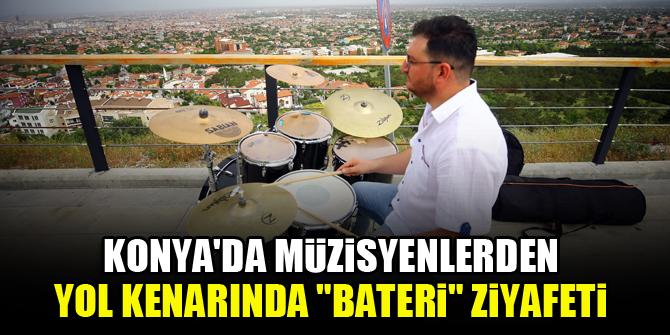 """Konya'da müzisyenlerden yol kenarında """"bateri"""" ziyafeti"""