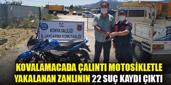 Kovalamacada çalıntı motosikletle yakalandı, 22 suç kaydı çıktı