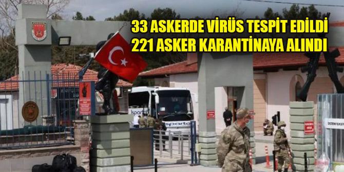 33 askerde koronavirüs tespit edildi, 221 asker karantinaya alındı