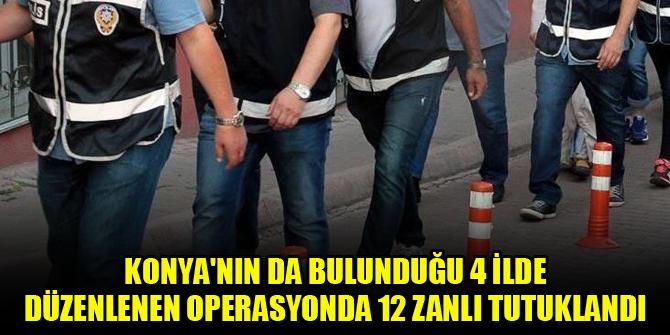 Konya'nın da bulunduğu 4 ilde düzenlenen operasyonda 12 zanlı tutuklandı