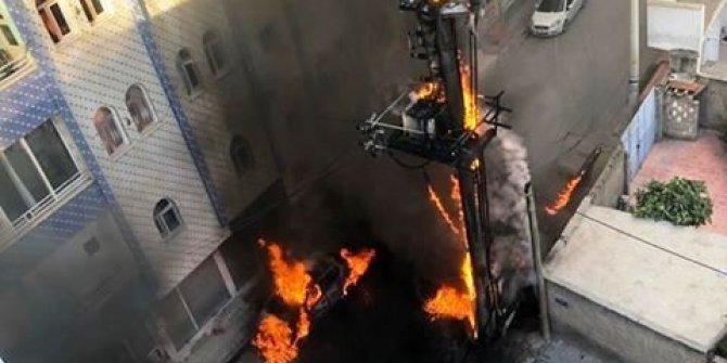 Mardin'de trafo yandı, alevler otomobile sıçradı