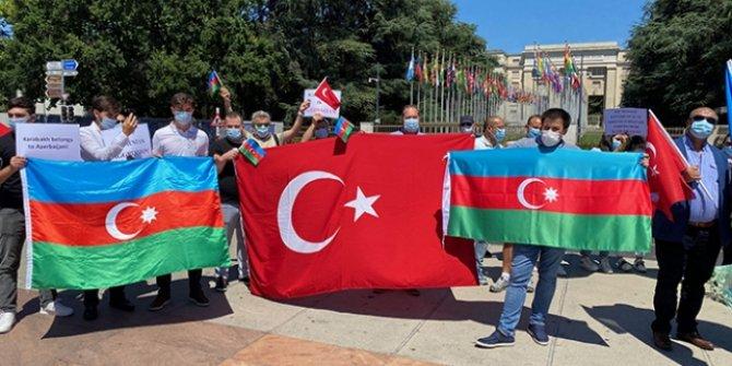 BM Cenevre Ofisi önünde Ermenistan'ın saldırıları protesto edildi