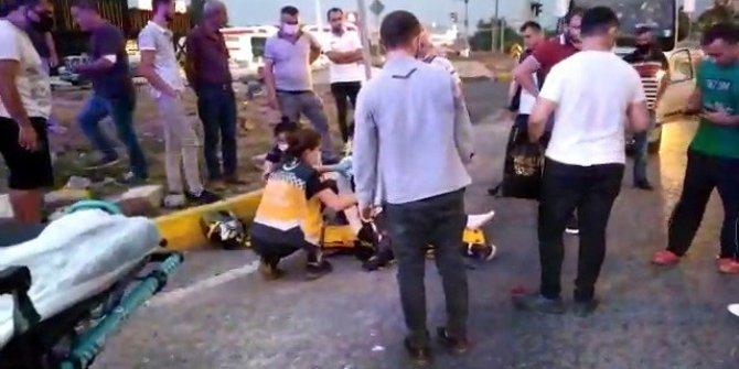 Otomobil motosikletliye çarptı: 1 yaralı
