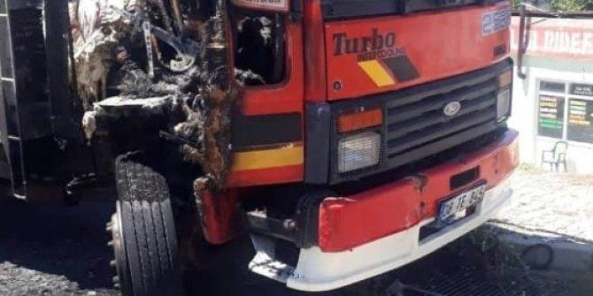 Kundaklanan kamyon kullanılamaz hale geldi