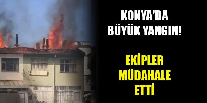 Konya'da tekstil atölyesinin çatısında yangın