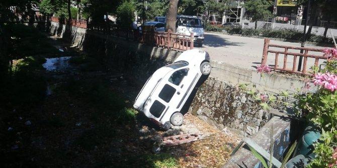 Park halindeki araç dereye uçtu