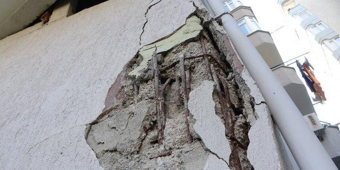 9 katlı binanın kolonu patladı, vatandaşlar deprem oldu sandı