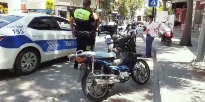 Dur ikazına uymayıp motosikleti bırakıp kaçtı