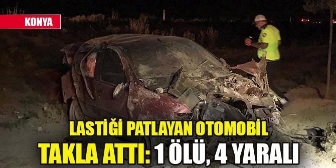 Konya'da lastiği patlayan otomobil takla attı: 1 ölü, 4 yaralı