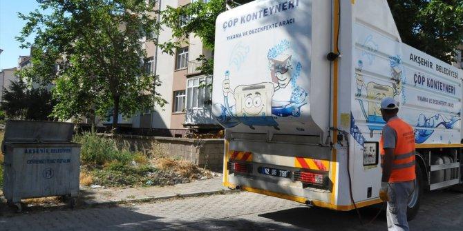 Akşehir'de çöp konteynerleri dezenfekte ediliyor