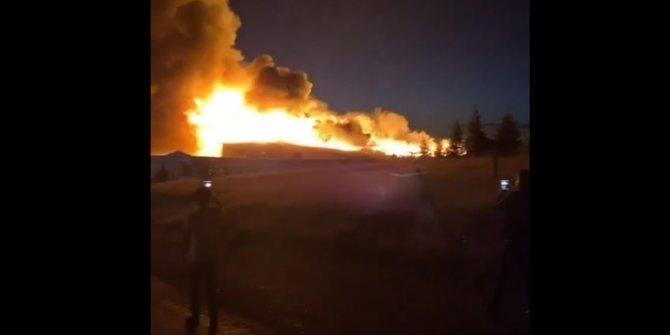 Ankara'da, kereste fabrikasında korkutan yangın