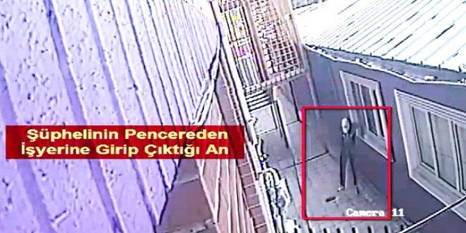 İş yerlerine pencereden girerken görüntülenen şüpheli yakalandı