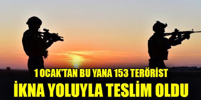 1 Ocak'tan bu yana 153 terörist ikna yoluyla teslim oldu