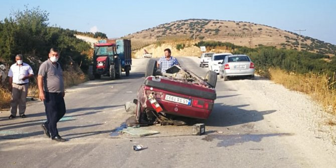 Takla atan otomobilin sürücüsü yaralandı
