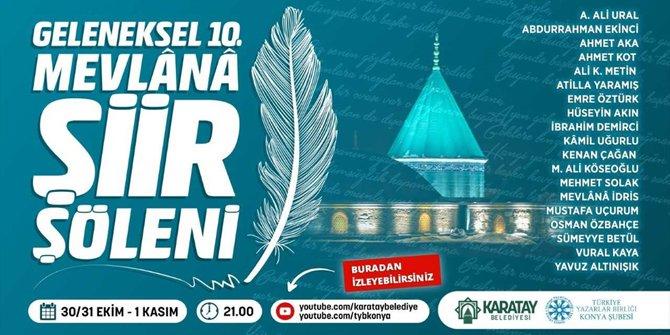 """10. Mevlana Şiir Şöleni bu yıl """"dijital ortamda"""" yapılacak"""
