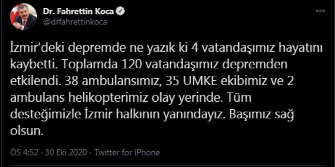 """""""Depremde 4 vatandaşımız hayatını kaybetti"""""""