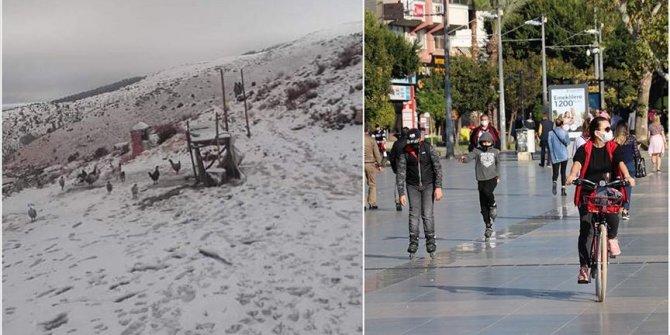Turska: Snijeg u višim predjelima antalijske regije, na plažama stanovnici uživaju u suncu i kupanju u moru