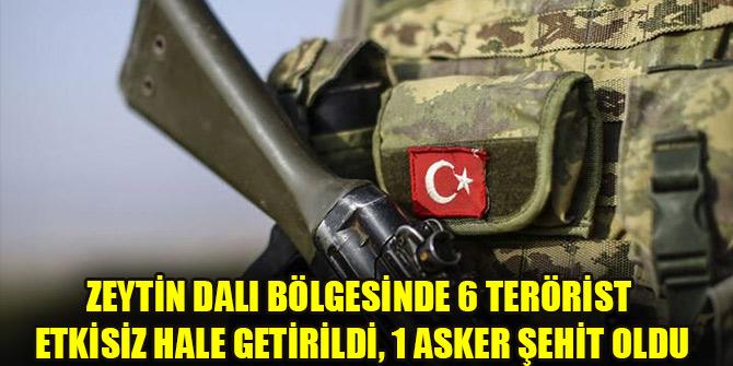Zeytin Dalı bölgesinde 6 terörist etkisiz hale getirildi, 1 asker şehit oldu