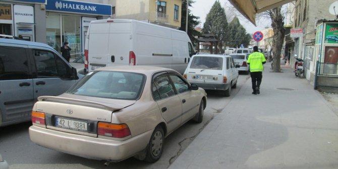 Karapınar'da hatalı park yapan sürücülere ceza