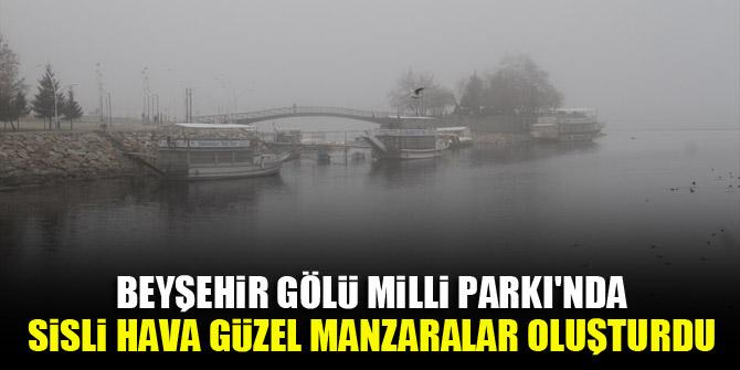 Beyşehir Gölü Milli Parkı'nda sisli hava güzel manzaralar oluşturdu