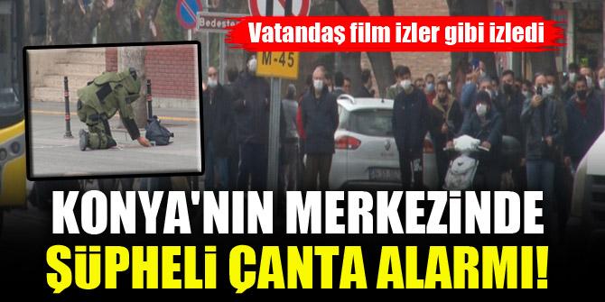 Konya'nın merkezinde şüpheli çanta alarmı! Vatandaş film izler gibi izledi