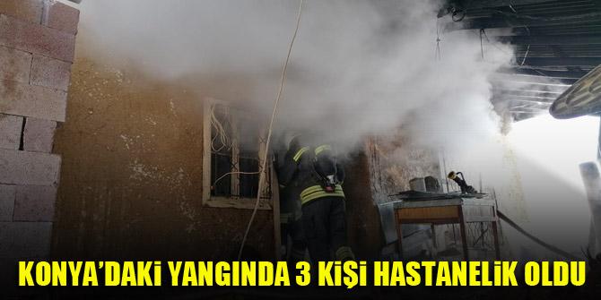 Konya'da yangın, 3 kişi hastanelik oldu