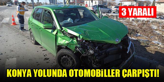 Konya yolunda otomobiller çarpıştı! 3 yaralı