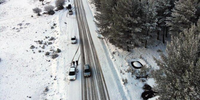 Kar gören Muğlalılar Yılanlı dağına çıktı