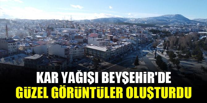 Kar yağışı Beyşehir'de güzel görüntüler oluşturdu